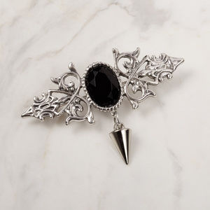 Jewelry - black gem bar pin brooch with spike charm